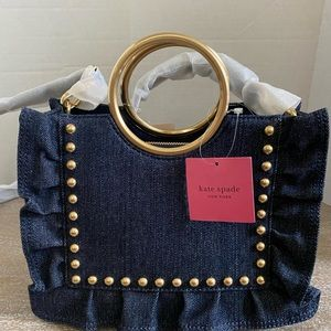 Kate Spade Denim Studded Bag With Ruffle detail